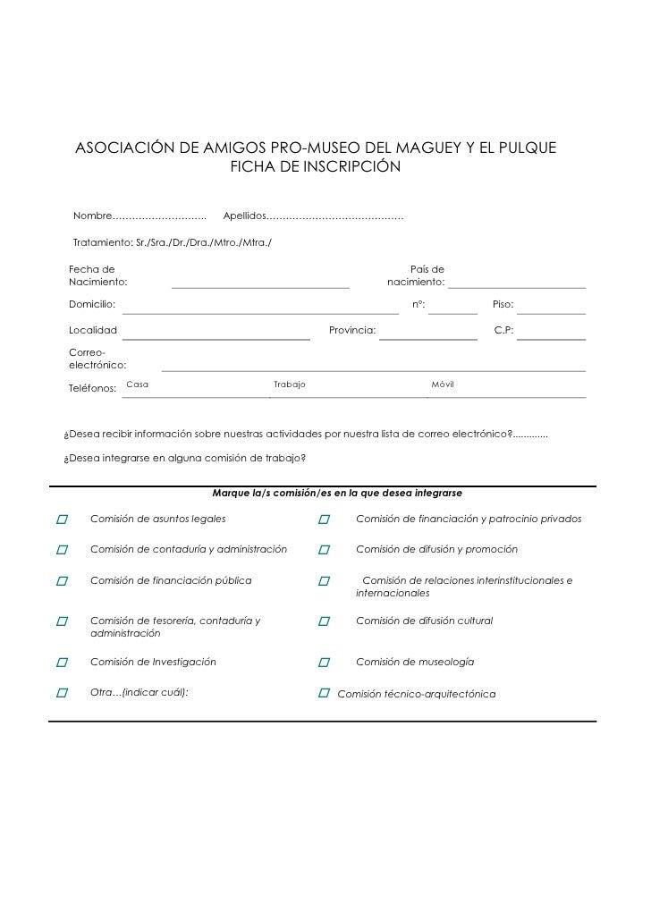 Ficha De Inscripcion Y Otros Documentos