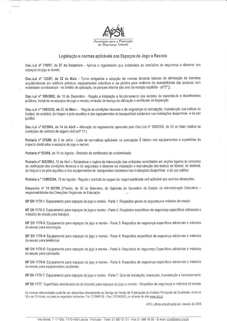 Ficha de inspecção de espaços de jogos e recreio