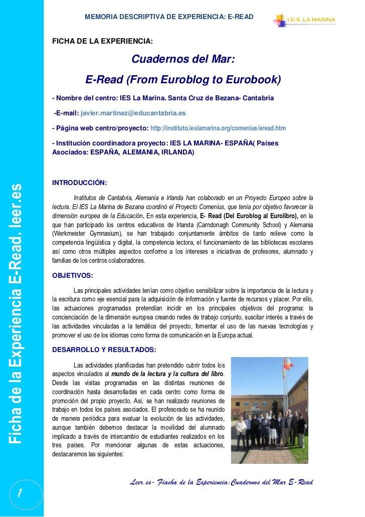 MEMORIA DESCRIPTIVA DE EXPERIENCIA: E-READ                                          FICHA DE LA EXPERIENCIA:              ...
