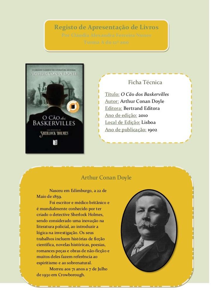 Registo de Apresentação de LivrosPor Cláudia Alexandra Ferreira NunesTurma A do 12º ano<br />-137795287020<br />Ficha Técn...