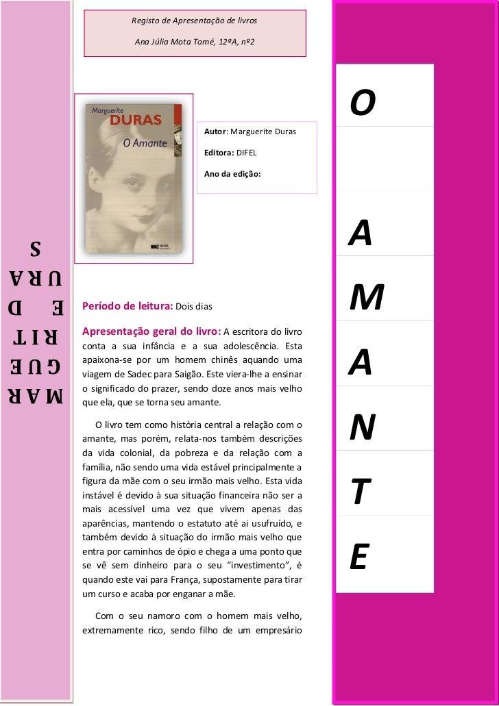 Registo de Apresentação de livros                  Ana Júlia Mota Tomé, 12ºA, nº2                                   Autor:...