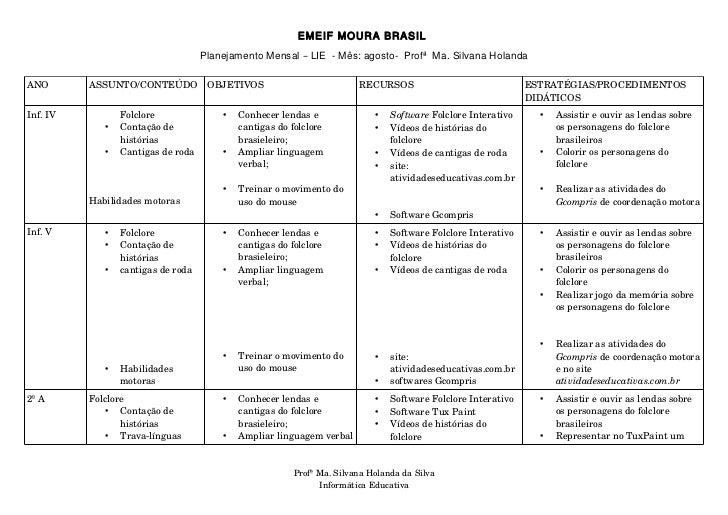 EMEIF MOURA BRASIL                                    Planejamento Mensal – LIE - Mês: agosto- Profª Ma. Silvana HolandaAN...