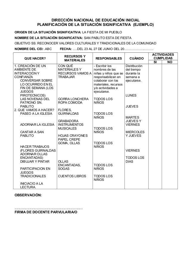 Ficha de planificaci n diaria for Planificacion de educacion inicial