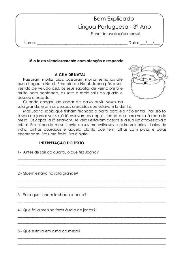 Bem Explicado  Língua Portuguesa - 3º Ano  Ficha de avaliação mensal  Nome: ______________________________________________...