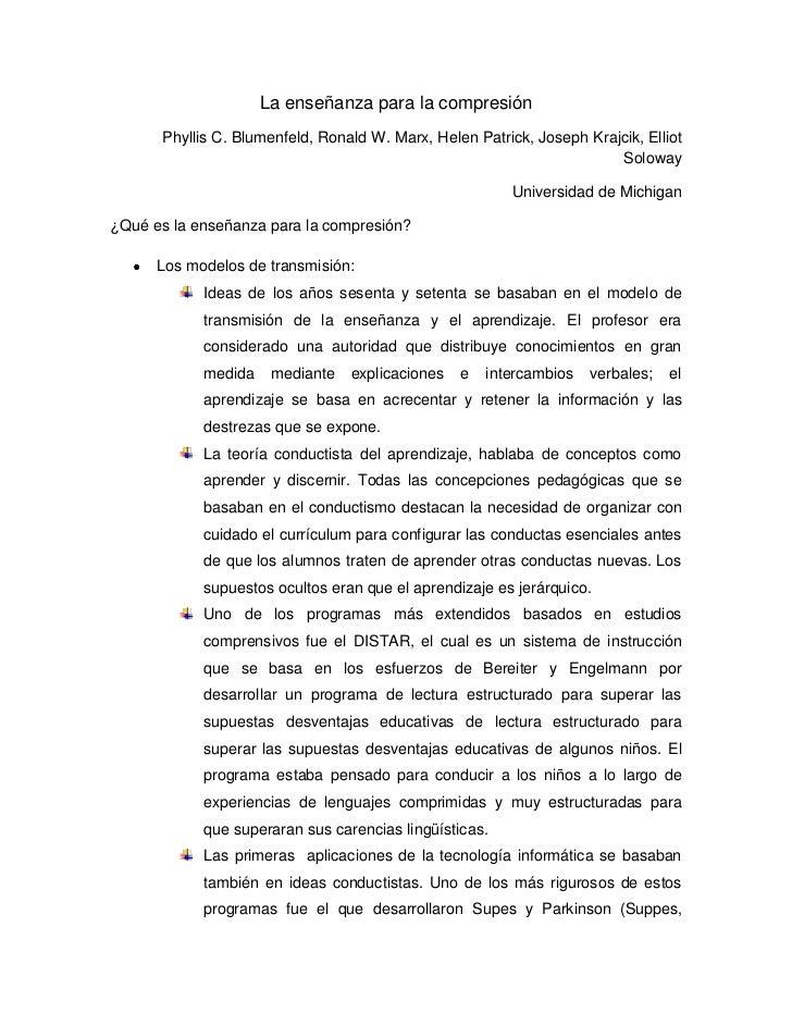 La enseñanza para la compresión      Phyllis C. Blumenfeld, Ronald W. Marx, Helen Patrick, Joseph Krajcik, Elliot         ...