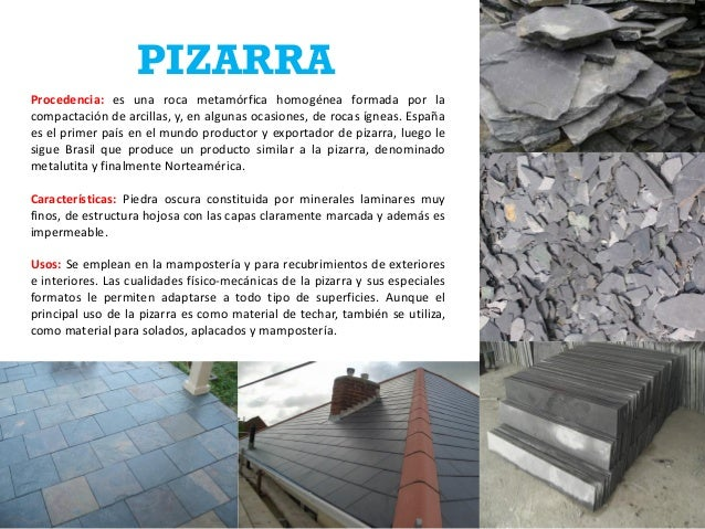 Ficha de rocas jose estevez 12 0625 for Pizarra roca