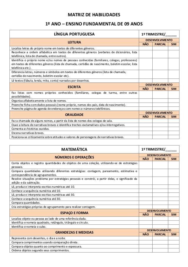 MATRIZ DE HABILIDADES 1º ANO – ENSINO FUNDAMENTAL DE 09 ANOS LÍNGUA PORTUGUESA  1º TRIMESTRE/______  LEITURA  DESENVOLVIME...