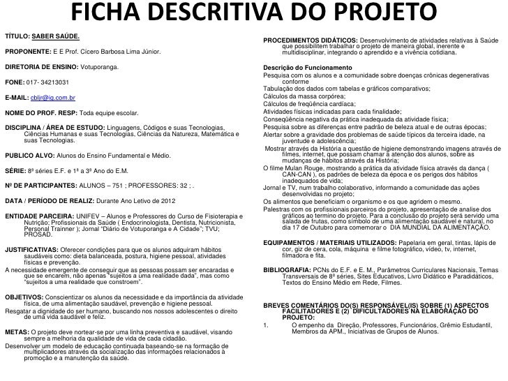 FICHA DESCRITIVA DO PROJETOTÍTULO: SABER SAÚDE.                                                                           ...