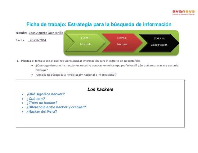 Ficha de trabajo: Estrategia para la búsqueda de información  Nombre: Jean Aguirre Quintanilla  Fecha : 25-08-2014  ETAPA ...