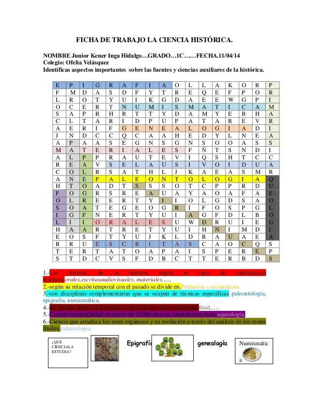 FICHA DE TRABAJO LA CIENCIA HISTÓRICA. NOMBRE Junior Kener Inga Hidalgo…GRADO…1C……FECHA.11/04/14 Colegio: Ofelia Velásquez...