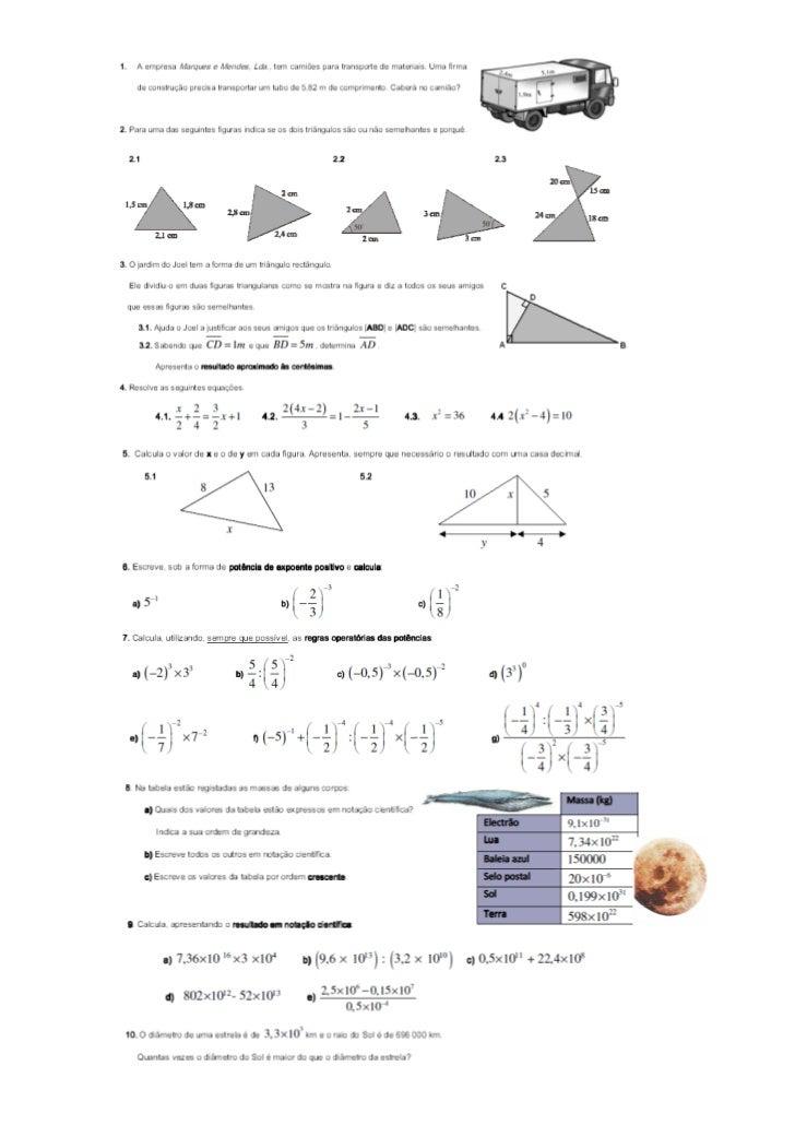 Ficha de trabalho-teorema de pitagoras