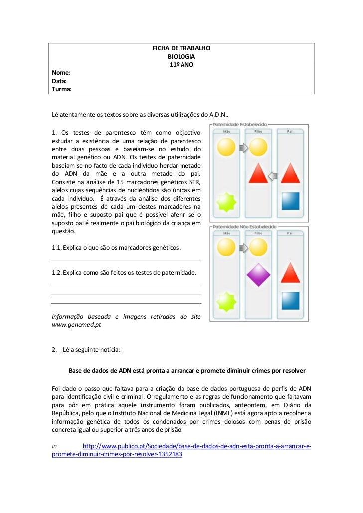 FICHA DE TRABALHO                                          BIOLOGIA                                          11º ANONome:D...