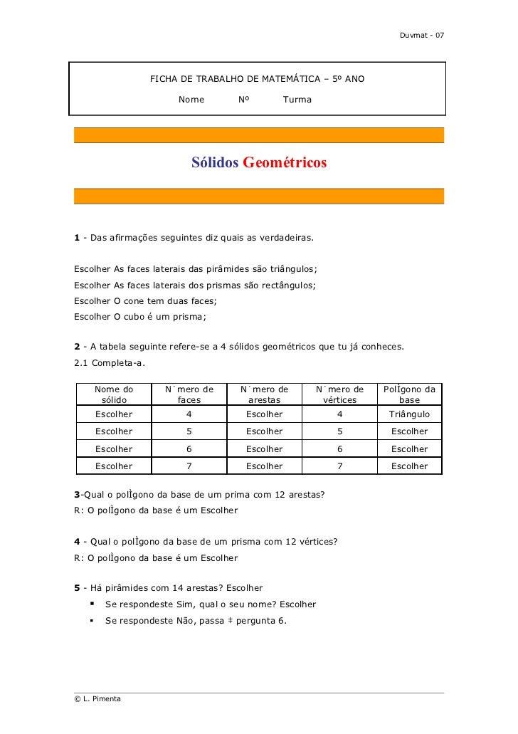 Duvmat - 07                   FICHA DE TRABALHO DE MATEMÁTICA – 5º ANO                         Nome    Nº      T...