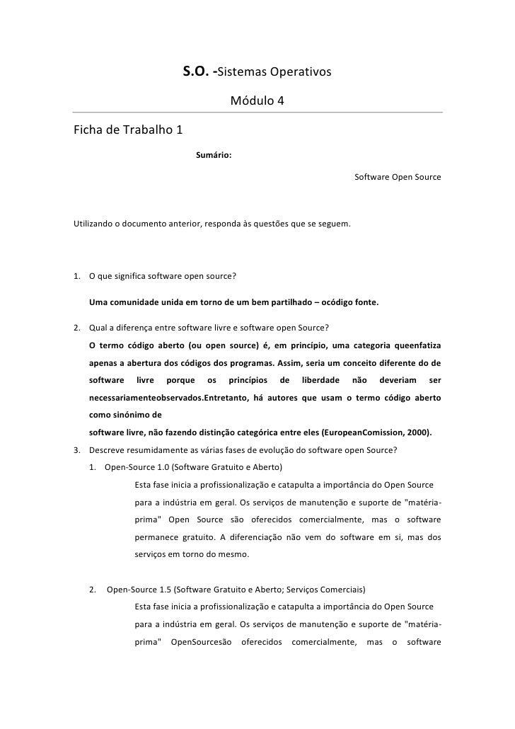 S.O. -Sistemas Operativos                                        Módulo 4Ficha de Trabalho 1                              ...