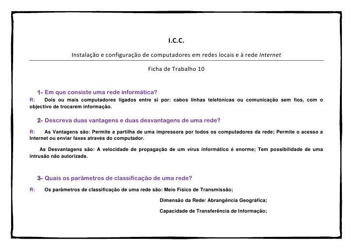 I.C.C.                 Instalação e configuração de computadores em redes locais e à rede Internet                        ...