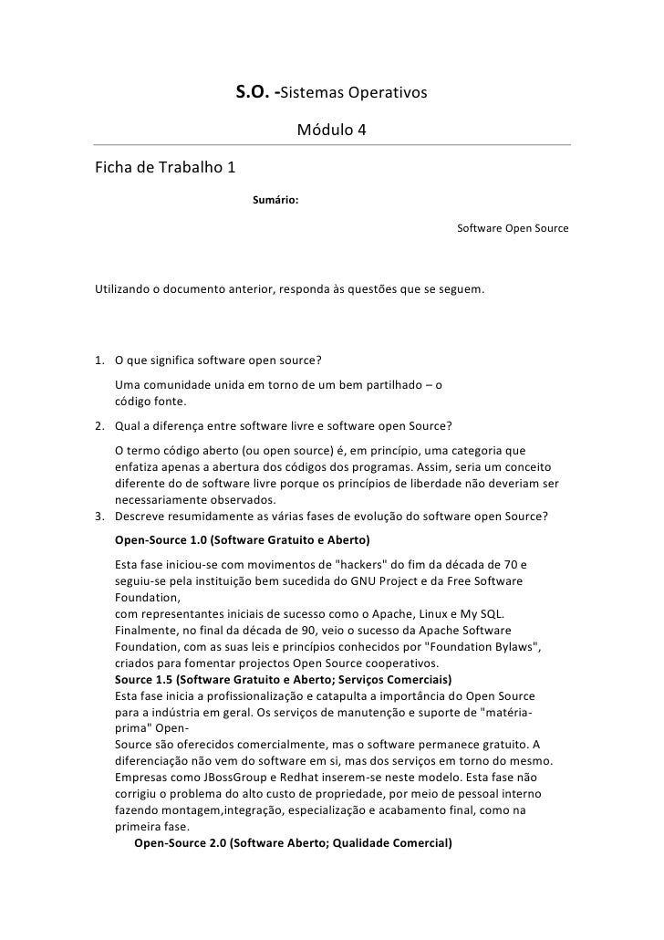 S.O. -Sistemas Operativos                                    Módulo 4Ficha de Trabalho 1                            Sumári...