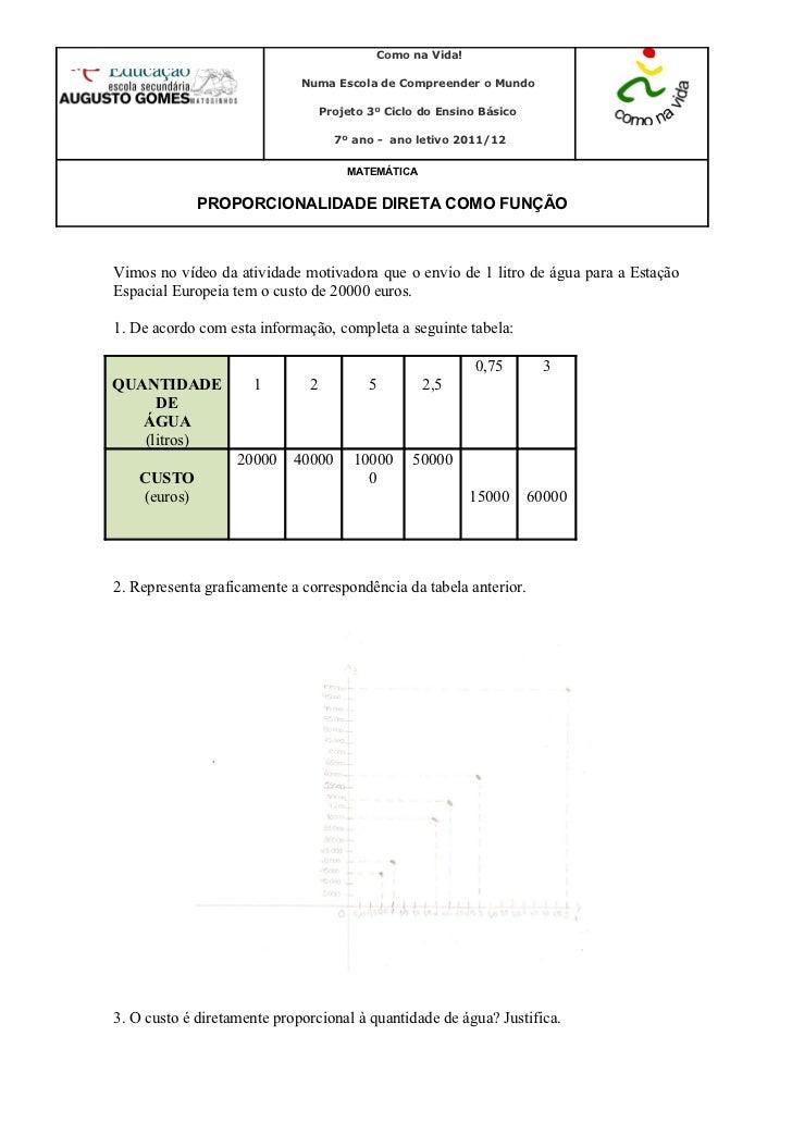 Ficha de trabalho 3 proporcionalidade direta
