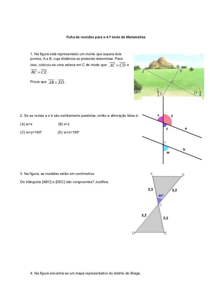 Ficha de revisões para o 4.º teste de Matemática      1. Na figura está representado um monte que separa dois      pontos,...