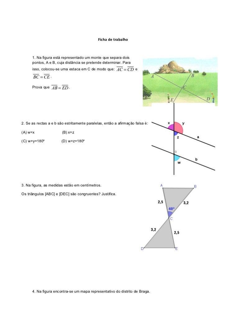 Ficha de trabalho      1. Na figura está representado um monte que separa dois      pontos, A e B, cuja distância se prete...
