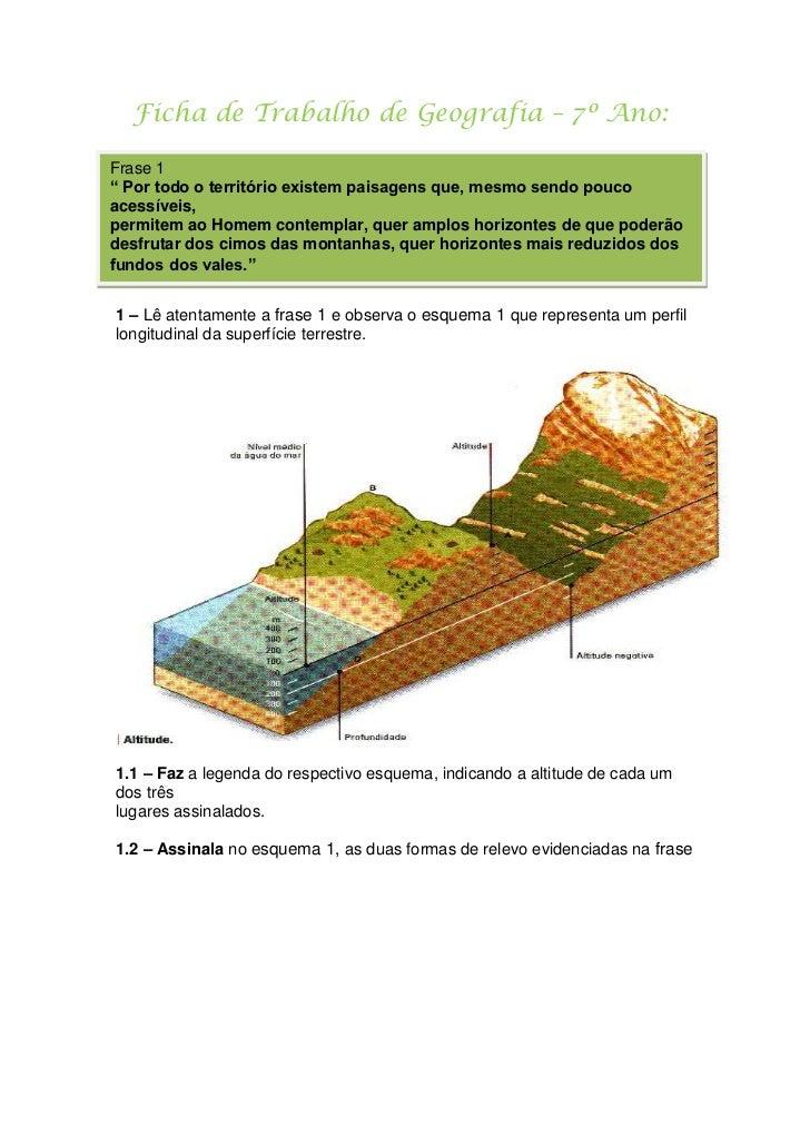 """Ficha de Trabalho de Geografia – 7º Ano:<br />Frase 1"""" Por todo o território existem paisagens que, mesmo sendo pouco ac..."""