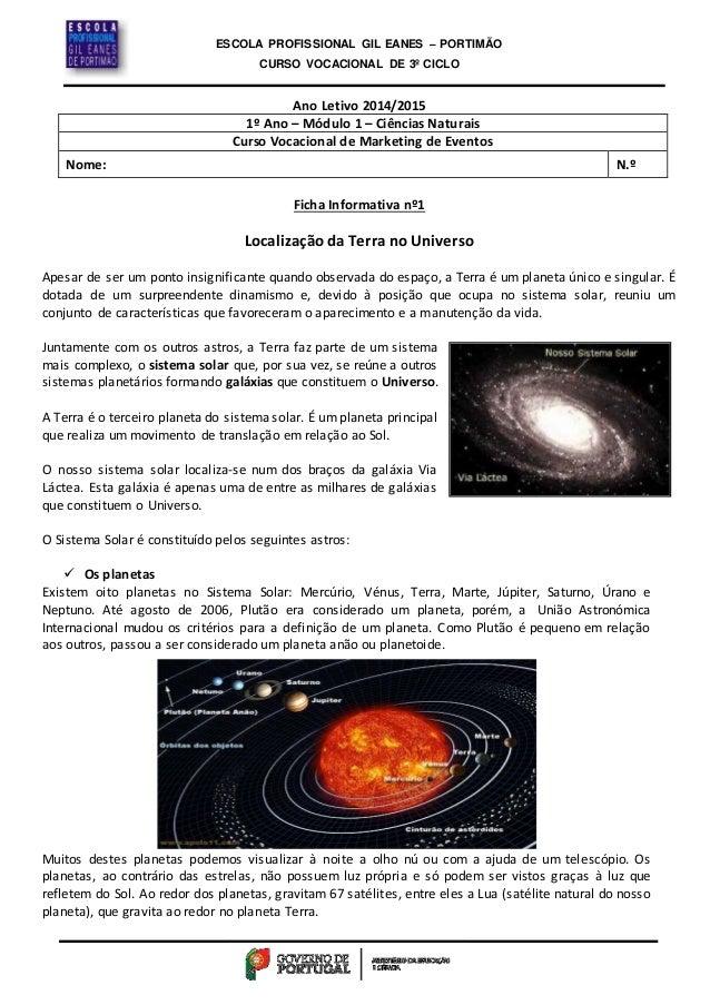 ESCOLA PROFISSIONAL GIL EANES – PORTIMÃO  CURSO VOCACIONAL DE 3º CICLO  Ano Letivo 2014/2015  1º Ano – Módulo 1 – Ciências...