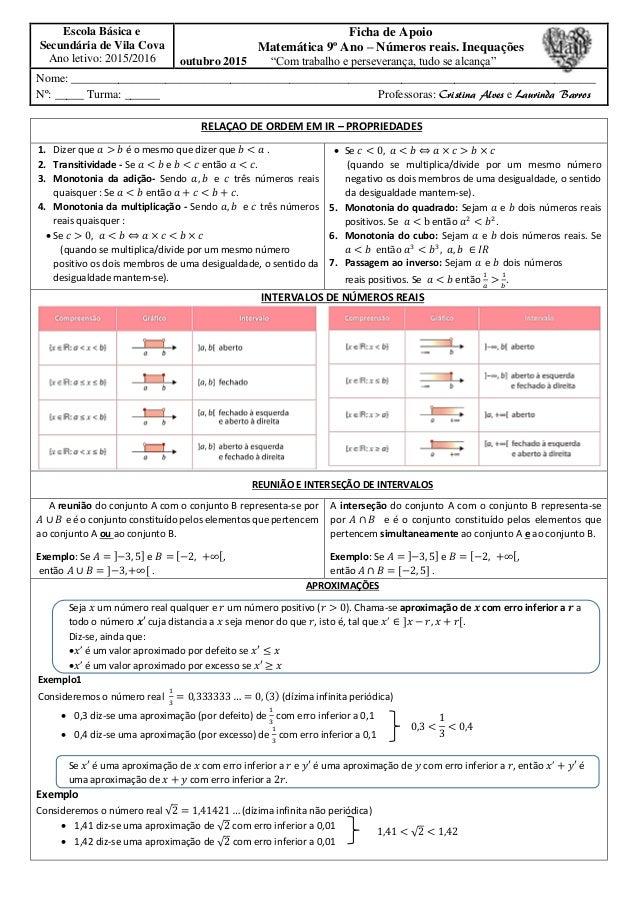 Escola Básica e Secundária de Vila Cova Ano letivo: 2015/2016 Ficha de Apoio Matemática 9º Ano – Números reais. Inequações...