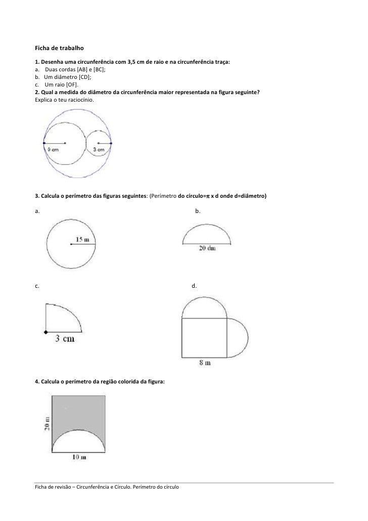 Ficha de trabalho<br />1. Desenha uma circunferência com 3,5 cm de raio e na circunferência traça: <br />a.    Duas cordas...