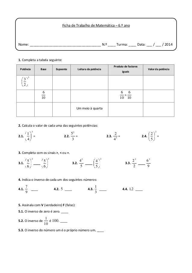 Ficha de Trabalho de Matemática – 6.º ano  Nome: _____________________________________ N.º ____ Turma: ____ Data: ___ / __...