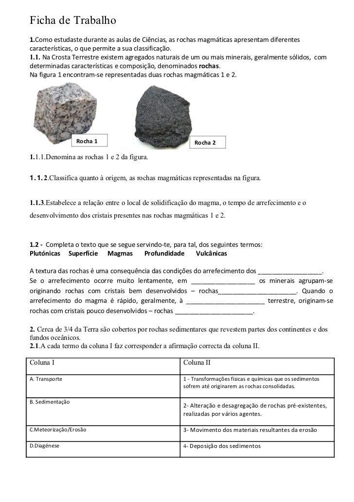 Ficha de trabalho rochas