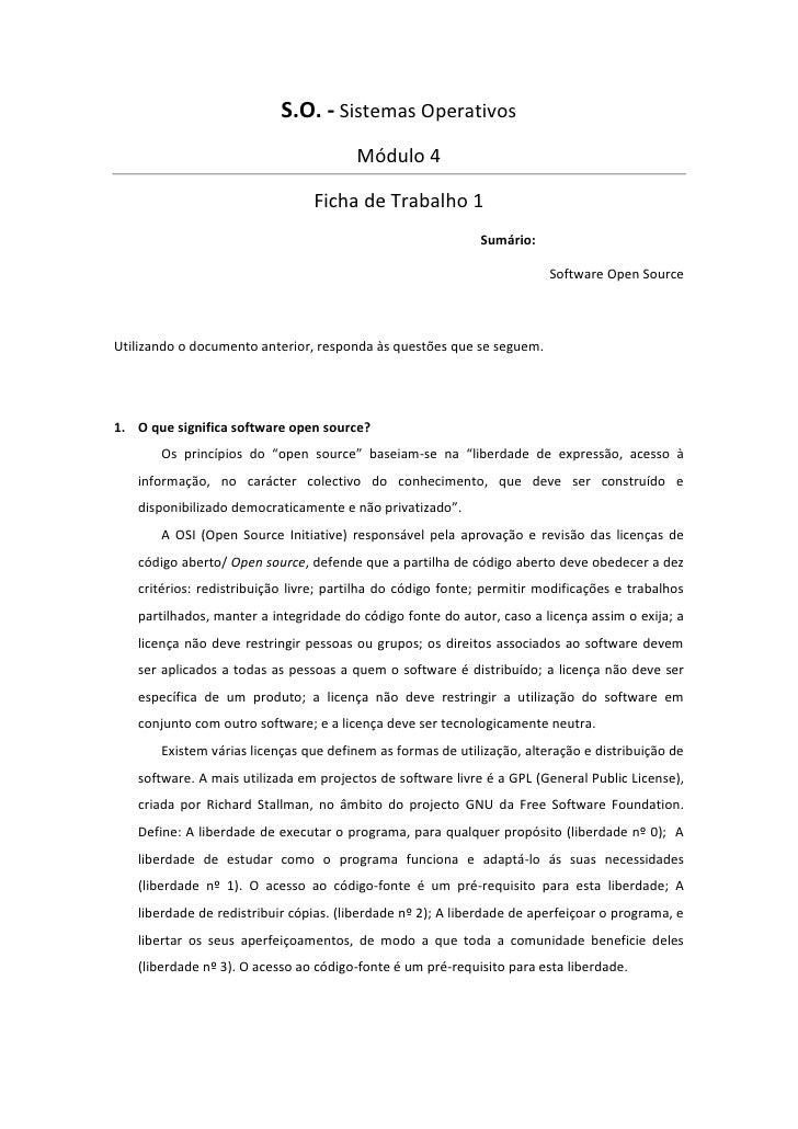 S.O. - Sistemas Operativos                                       Módulo 4                                Ficha de Trabalho...