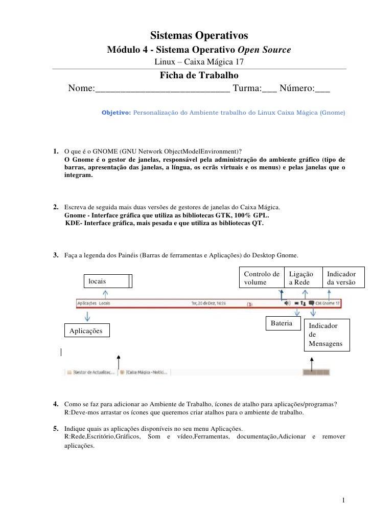 Sistemas Operativos                  Módulo 4 - Sistema Operativo Open Source                                   Linux – Ca...