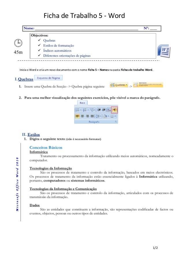 Ficha de Trabalho 5 - WordInicia o Word e cria um novo documento com o nome Ficha 5 – Nomes na pasta Fichas de trabalho Wo...