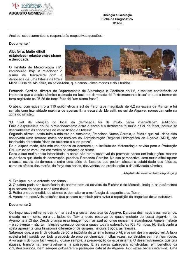 Biologia e GeologiaFicha de Diagnóstico10º AnoAnalise os documentos e responda às respectivas questões.Documento 1Albufeir...