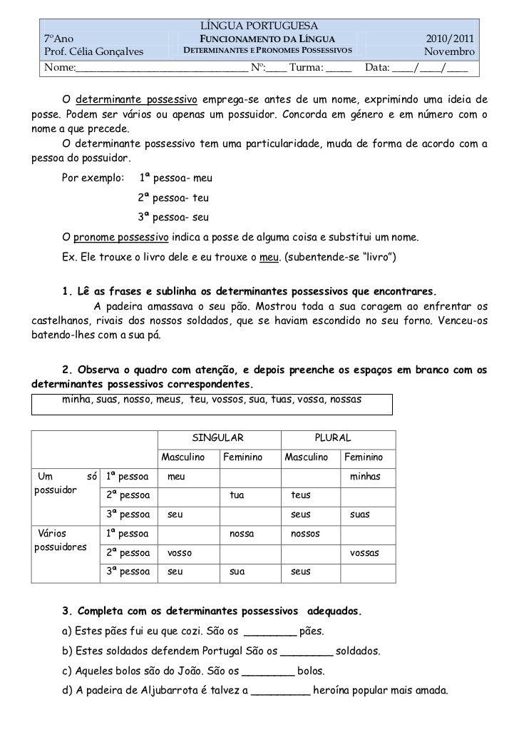 LÍNGUA PORTUGUESA  7ºAno                                FUNCIONAMENTO DA LÍNGUA                        2010/2011  Prof. Cé...