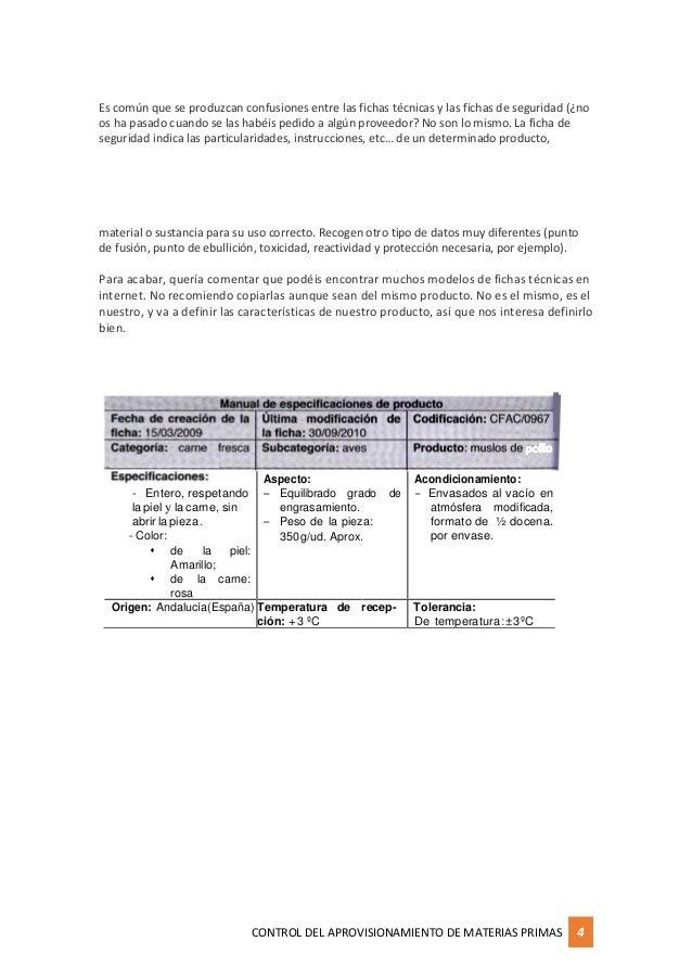 Ficha de especificaciones t cnicas de productos enfocados - Aprovisionamiento de materias primas en cocina ...