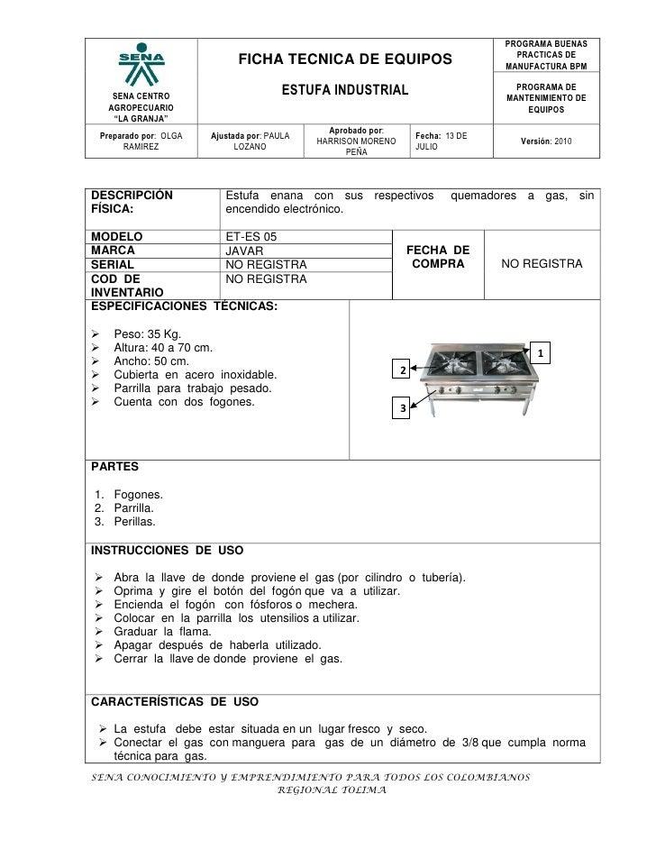 Ficha estufa industrial for Manual de cocina industrial