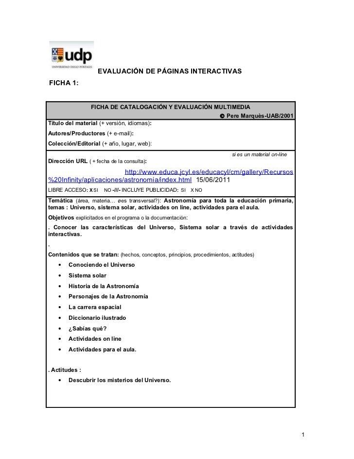 EVALUACIÓN DE PÁGINAS INTERACTIVASFICHA 1:                 FICHA DE CATALOGACIÓN Y EVALUACIÓN MULTIMEDIA                  ...
