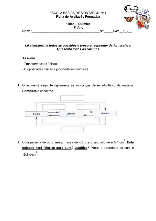ESCOLA BÁSICA DE MONTARGIL Nº 1Ficha de Avaliação FormativaFísico – Química7º AnoNome:____________________________________...