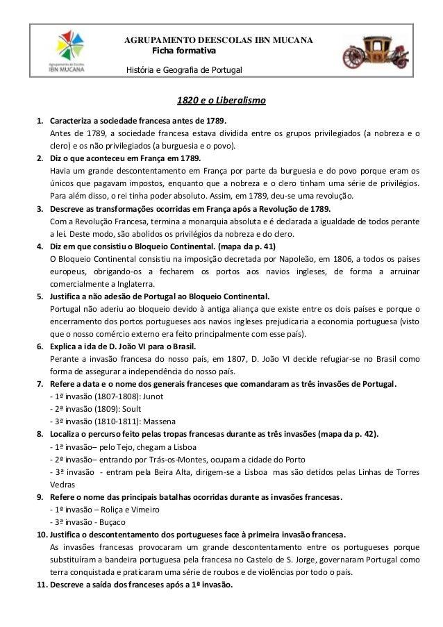AGRUPAMENTO DEESCOLAS IBN MUCANA Ficha formativa História e Geografia de Portugal  1820 e o Liberalismo 1. Caracteriza a s...