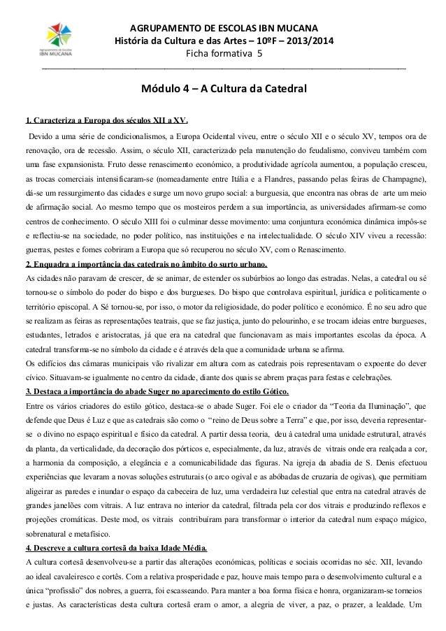 AGRUPAMENTO DE ESCOLAS IBN MUCANA História da Cultura e das Artes – 10ºF – 2013/2014 Ficha formativa 5 ___________________...