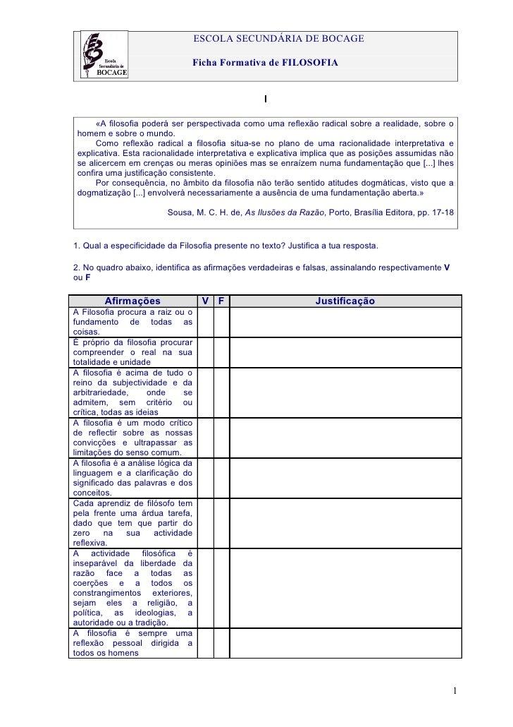 ESCOLA SECUNDÁRIA DE BOCAGE                                Ficha Formativa de FILOSOFIA                                   ...