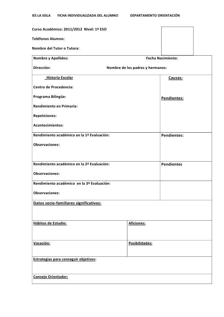 Ficha Del Alumno Para El Profesor