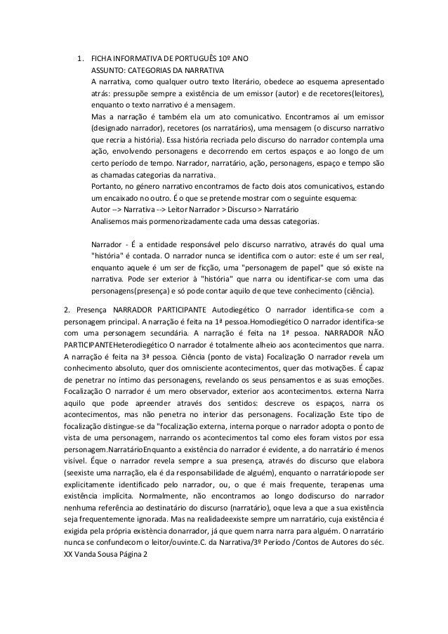 1. FICHA INFORMATIVA DE PORTUGUÊS 10º ANO ASSUNTO: CATEGORIAS DA NARRATIVA A narrativa, como qualquer outro texto literári...