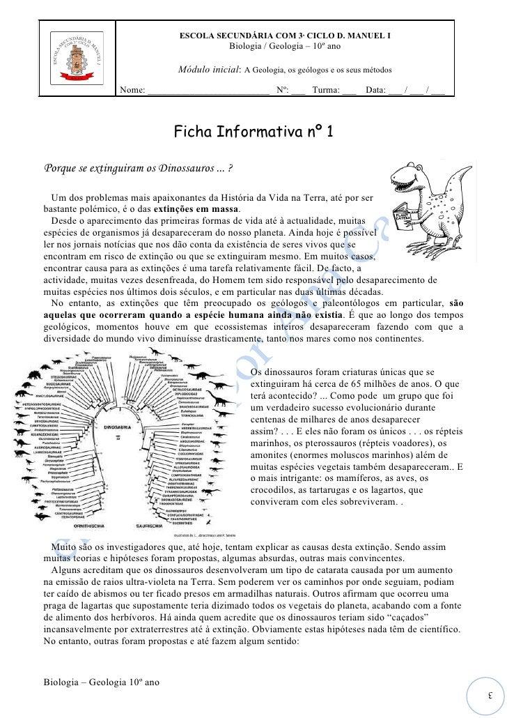 ESCOLA SECUNDÁRIA COM 3º CICLO D. MANUEL I                                              Biologia / Geologia – 10º ano     ...