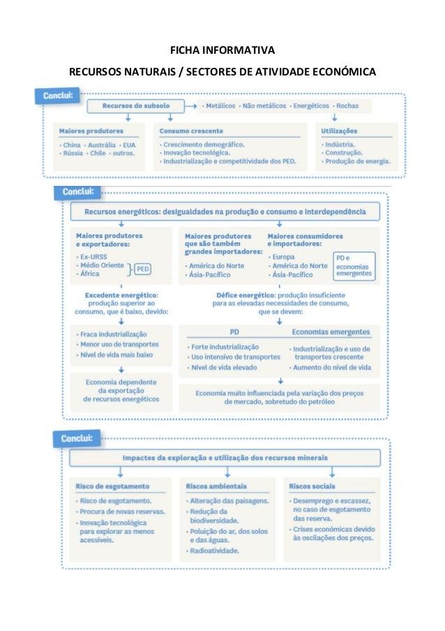 FICHA INFORMATIVA RECURSOS NATURAIS / SECTORES DE ATIVIDADE ECON�MICA