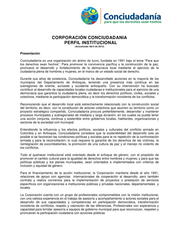 CORPORACIÓN CONCIUDADANIA                           PERFIL INSTITUCIONAL                                        (Actualiza...