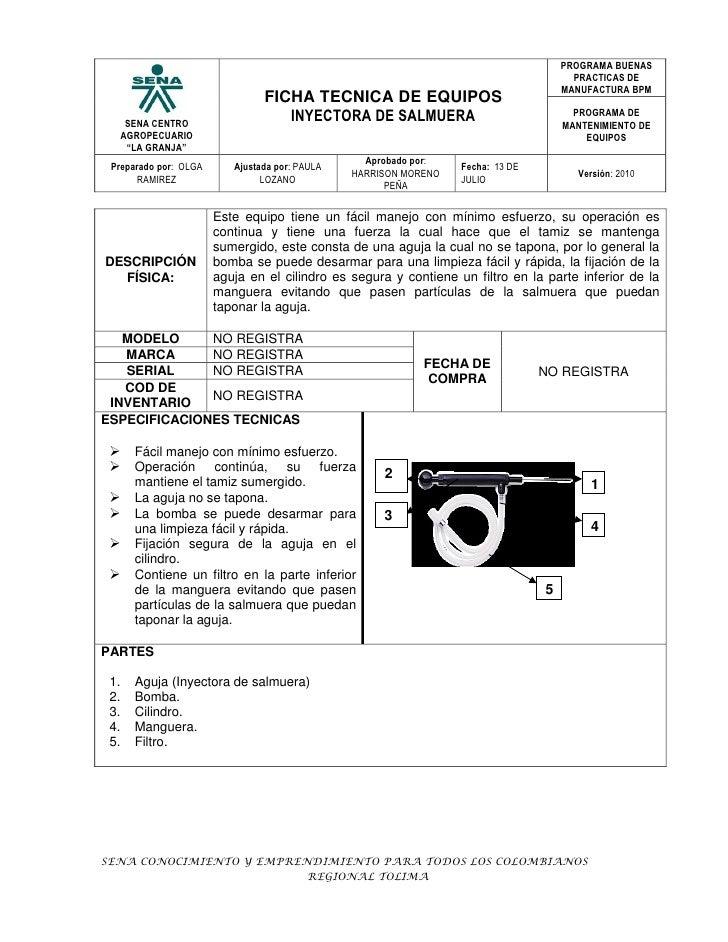 Ficha inyectora de salmuera for Programa de limpieza y desinfeccion de una cocina