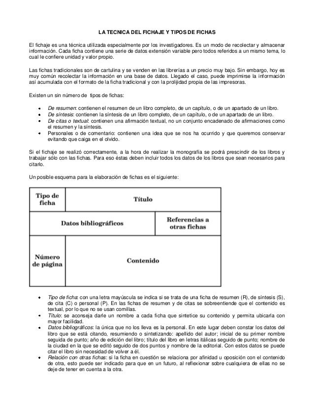 LA TECNICA DEL FICHAJE Y TIPOS DE FICHAS El fichaje es una técnica utilizada especialmente por los investigadores. Es un m...