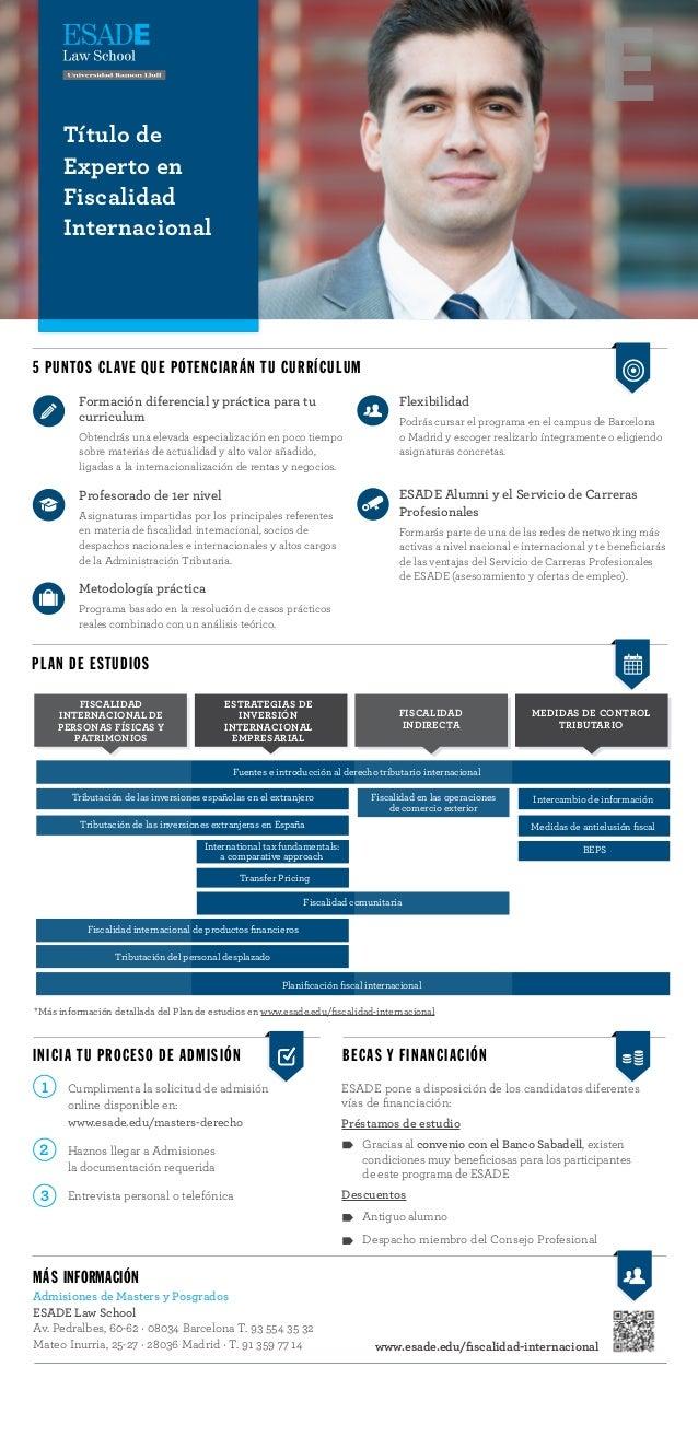 Título de Experto en Fiscalidad Internacional 5 PUNTOS CLAVE QUE POTENCIARÁN TU CURRÍCULUM PLAN DE ESTUDIOS Fiscalidad Int...