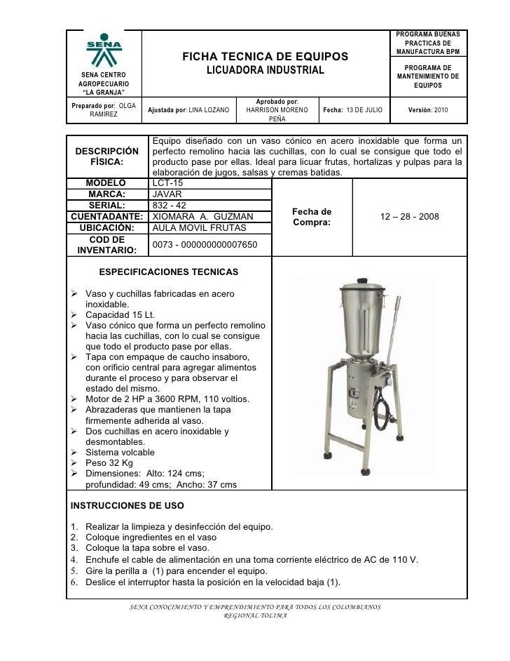 Licuadora industrial for Programa de limpieza y desinfeccion de una cocina